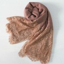 Merletto di modo sciarpe inverno/autunno shaws soild elegante della signora semplici fiori di molle di alta qualità 30 colori di cotone e viscosa 10pcs