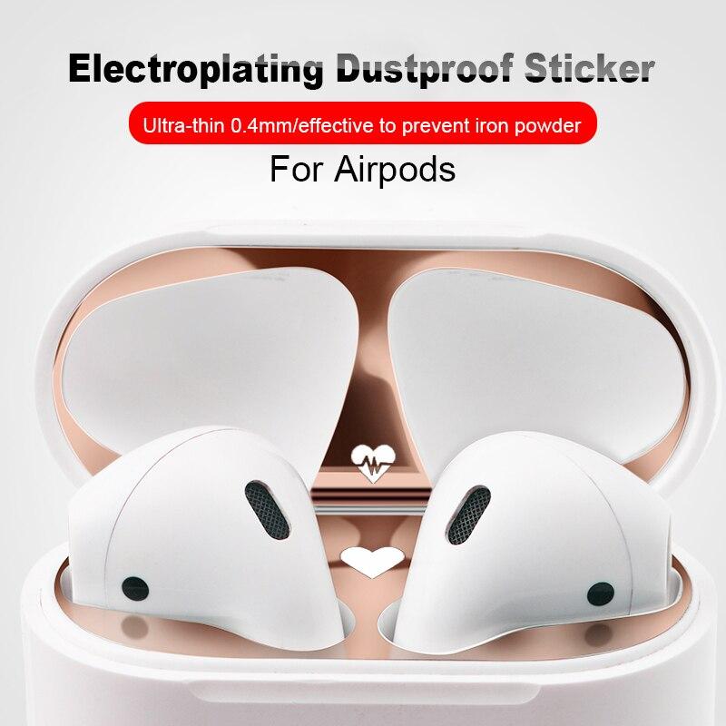 Mignon pour Apple Airpods 2 boîte autocollant de Protection contre la poussière en métal matériau mélangé pour Airpods 1 couvercle intérieur anti-poussière Patch accessoires