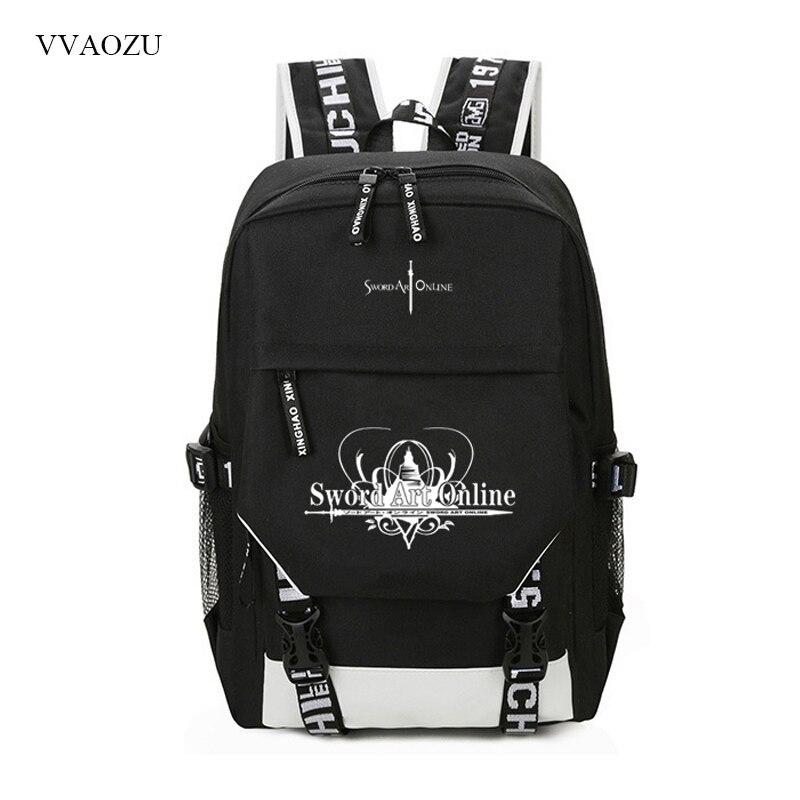 Mochilas Sword Art Online SAO, mochilas escolares de Anime para estudiantes, mochilas escolares para niños y niñas, mochila antirrobo para ordenador portátil con carga USB