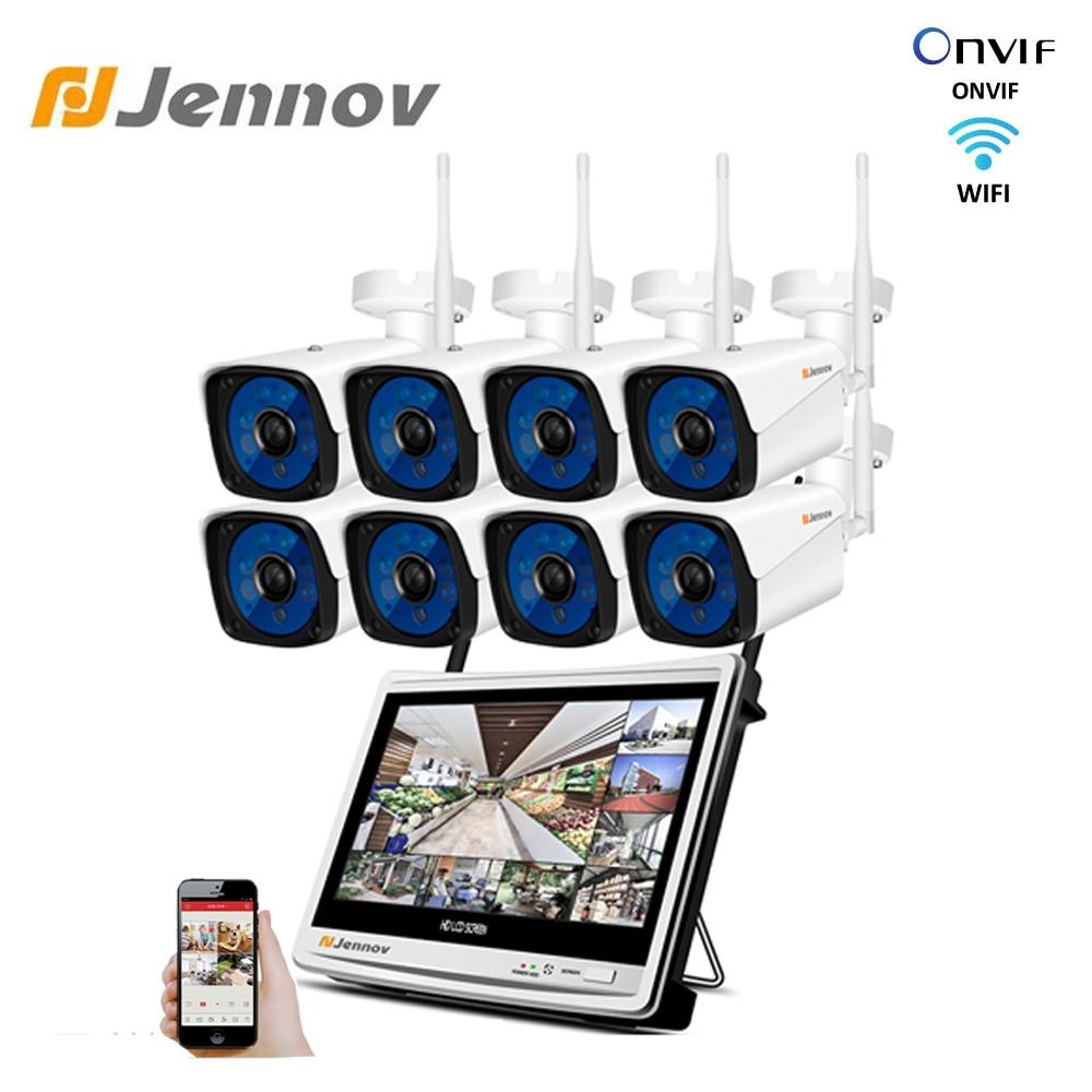 Jennov 8CH Monitor LCD NVR Kit CCTV sistema 2MP 1080P para exteriores, seguridad del hogar Wifi IP Cámara P2P Sistema de videovigilancia