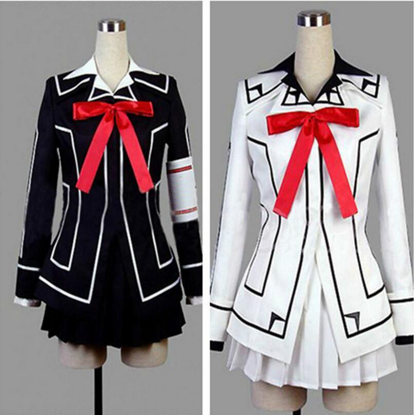 Disfraz de vampiro Caballero Cosplay Yuki cruz blanca o negro vestido de mujer uniforme