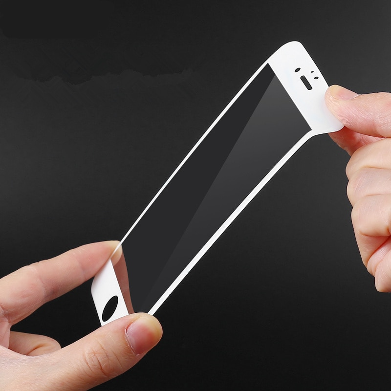 Glossy Carbon Fiber 3D Curved Edge Coated Tempered Glass For iPhone 6 6S Plus Phone Screen Protector