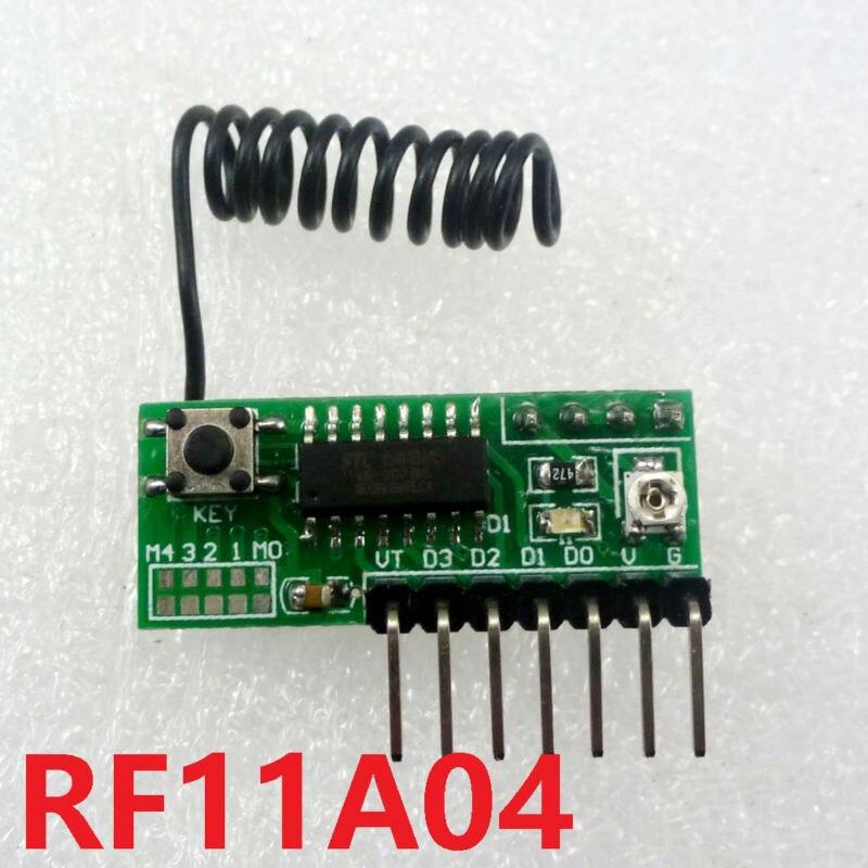 Módulo Decodificador RF11A04 3-5V 433MHz 4Ch, placa de retardo de receptor RF inalámbrico para EV1527 PT2262 SC2262, sensor de puerta de relé de control remoto
