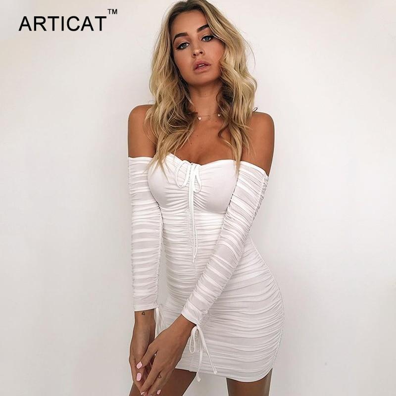 Articat Women Autumn Winter Bandage Dress Women 2020 Sexy Off Shoulder Long Sleeve Slim Elastic Body