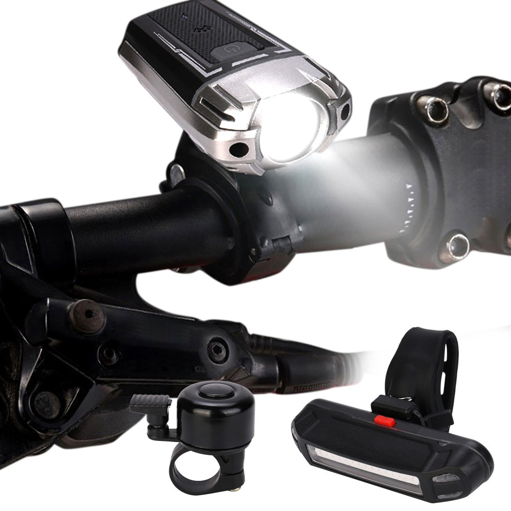 Conjunto de luz de bicicleta de 2 modos impermeable recargable por USB LED bicicleta brillante faro delantero luz trasera conjunto de campana bisiklet #2S