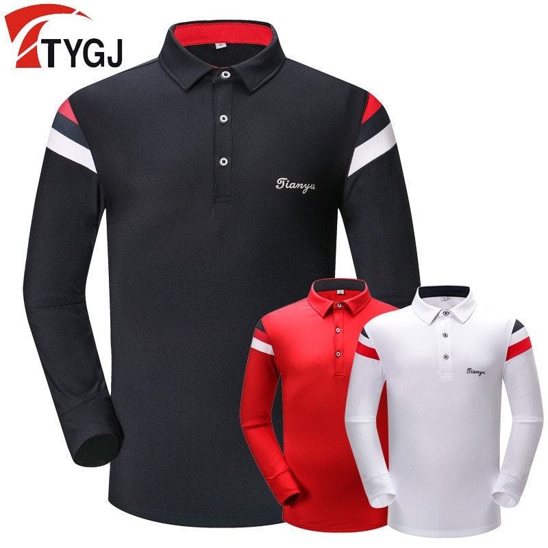 Nueva Camiseta deportiva de golf de manga larga para hombre de otoño e invierno, polo transpirable y de secado rápido, ropa de golf para hombre