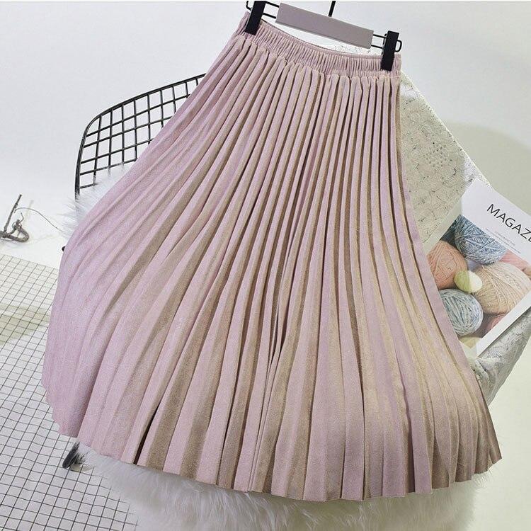 2020 dos capas primavera mujer falda de gamuza largo plisado Faldas de marca superior Saias Midi Faldas Vintage mujeres Midi falda