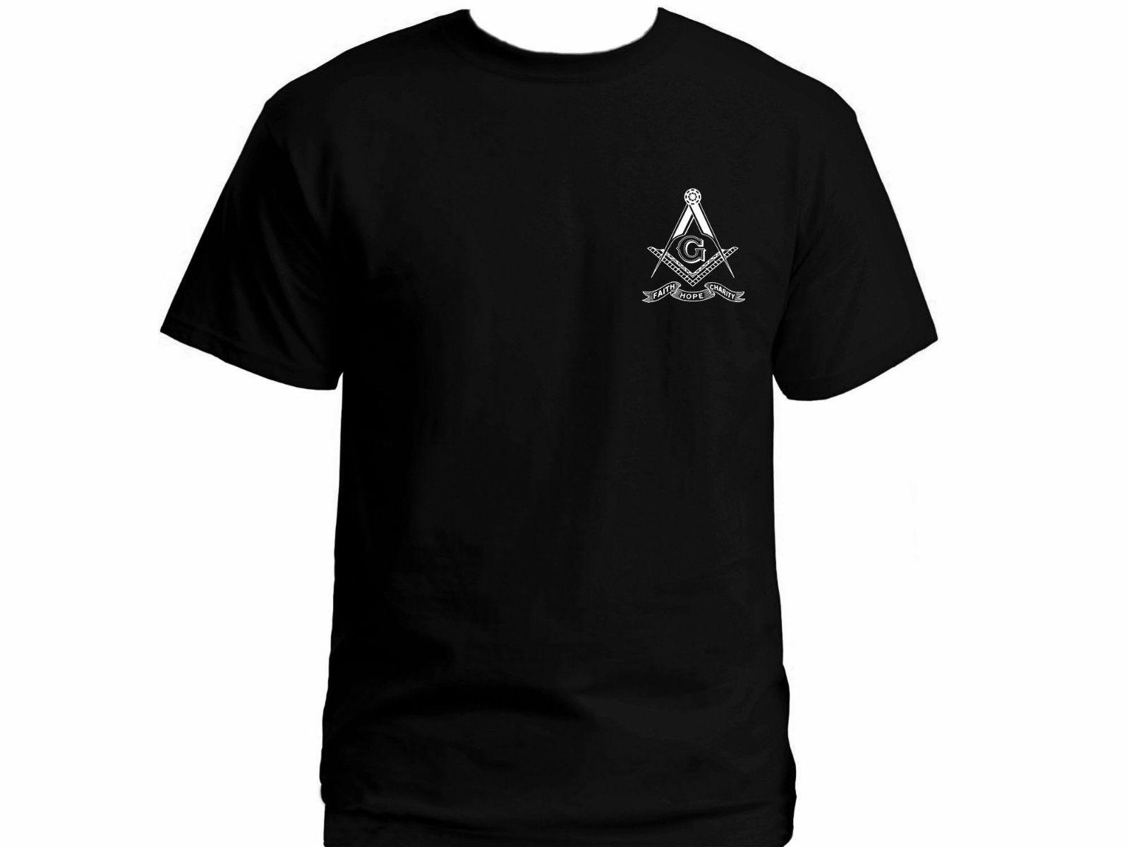2019 Masonic Freemasons Square & Compasses Faith Hope Charity black graphic t-shirt