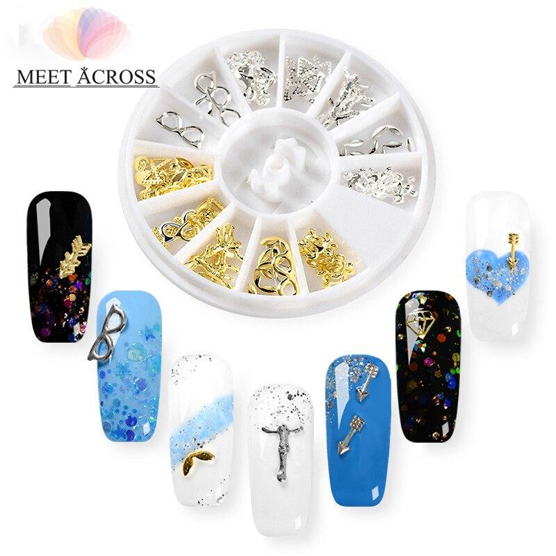 Conocer a través de 1 rueda de plata de oro cuchara tenedor Flecha de Metal, remaches para uñas DIY decoración 3D para uñas de manicura de la joyería