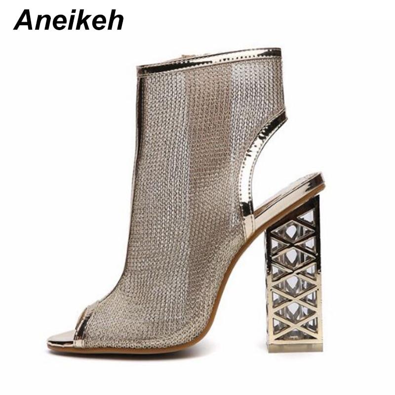 Aneikeh, novedad de verano, Gladiador sexis sandalias de, zapatos con cremallera de Punta abierta, zapatos de cristal ostentoso dorado con tacón calado, Sandalias de tacón, botas de mujer