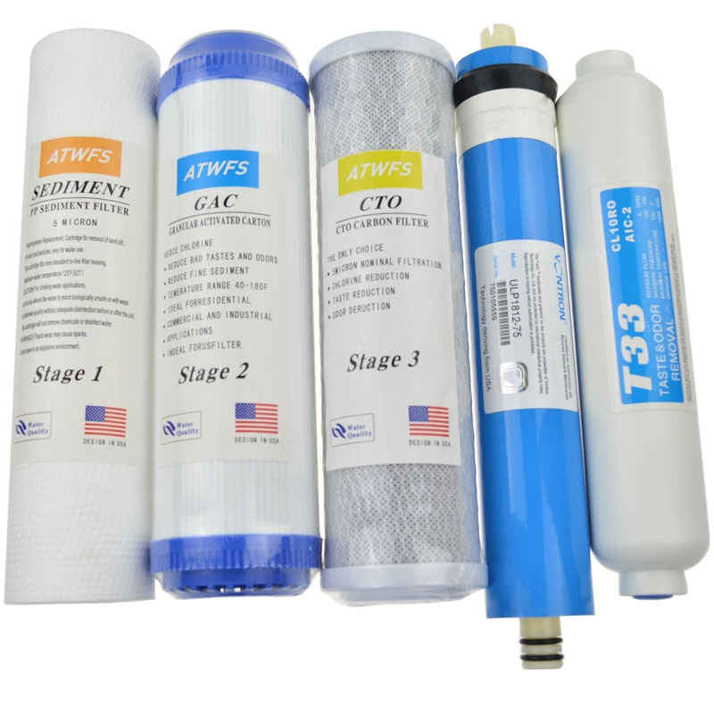 Atwfs 5 fase filtro cartucho purificador de água 75 gpd ro membrana osmose reversa syem filtros de água para casa