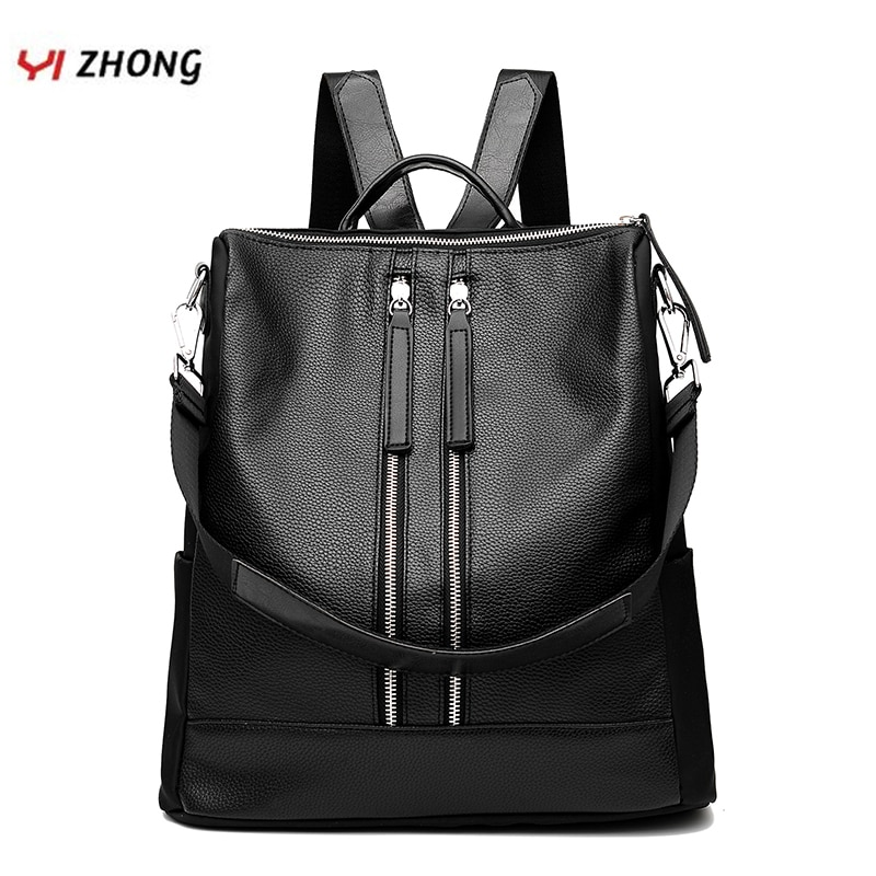 2018 design women black pu leather backpack high quality casual large capacity backpacks for school travel bag for women YIZHONG Casual Women Backpack High Quality Leather Backpacks for Teenage Girls Female School Shoulder Bag Travel Bagpack Mochila