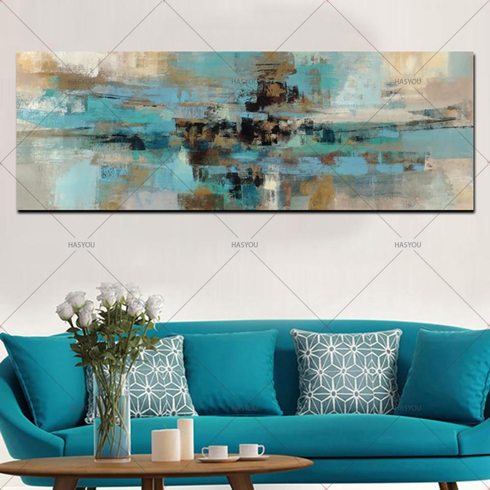 Pintura en lienzo con paisaje azul claro pintura al óleo abstracta hecha a mano sobre lienzo arte de pared dormitorio Sala sofá decoración de pared
