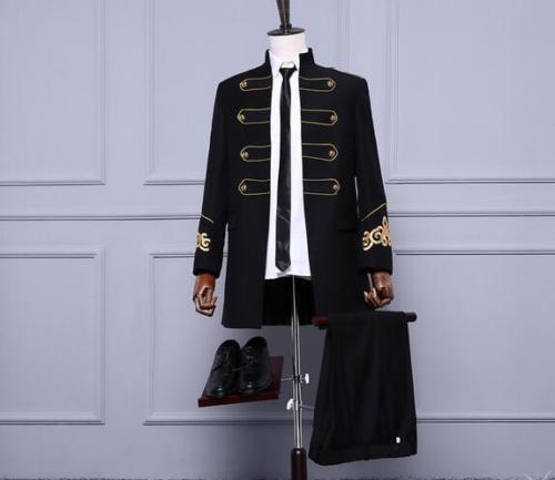 Мужские пальто в стиле милитари принц, Блейзер, куртка с золотыми пуговицами, длинные черные мужские куртки с воротником-стойкой
