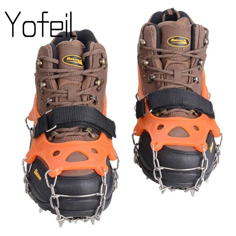في الهواء الطلق 19 الأسنان مخلب الجر المضادة للانزلاق الجليد المرابط الأحذية القابض سلسلة سبايك شار الثلوج المشي تسلق غطاء أحذية الأشرطة