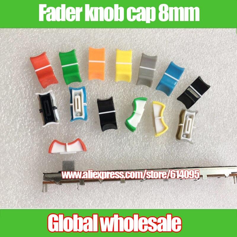 8 pcs buraco 8mm fader potenciômetro puxadores caps/misturador fader cap 8mm/sounder equalizador push rod botão de pressão cap
