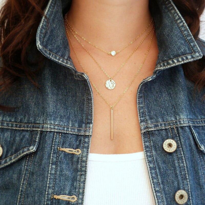 Collar de mujer, Collar de fila múltiple, Collar gargantilla (I)
