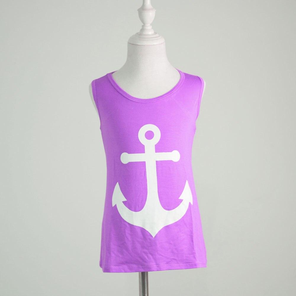 キッズサイズ卸売ブティックみとめ色アンカー印刷トップファッション女性服バック弓泳ぐシャツ
