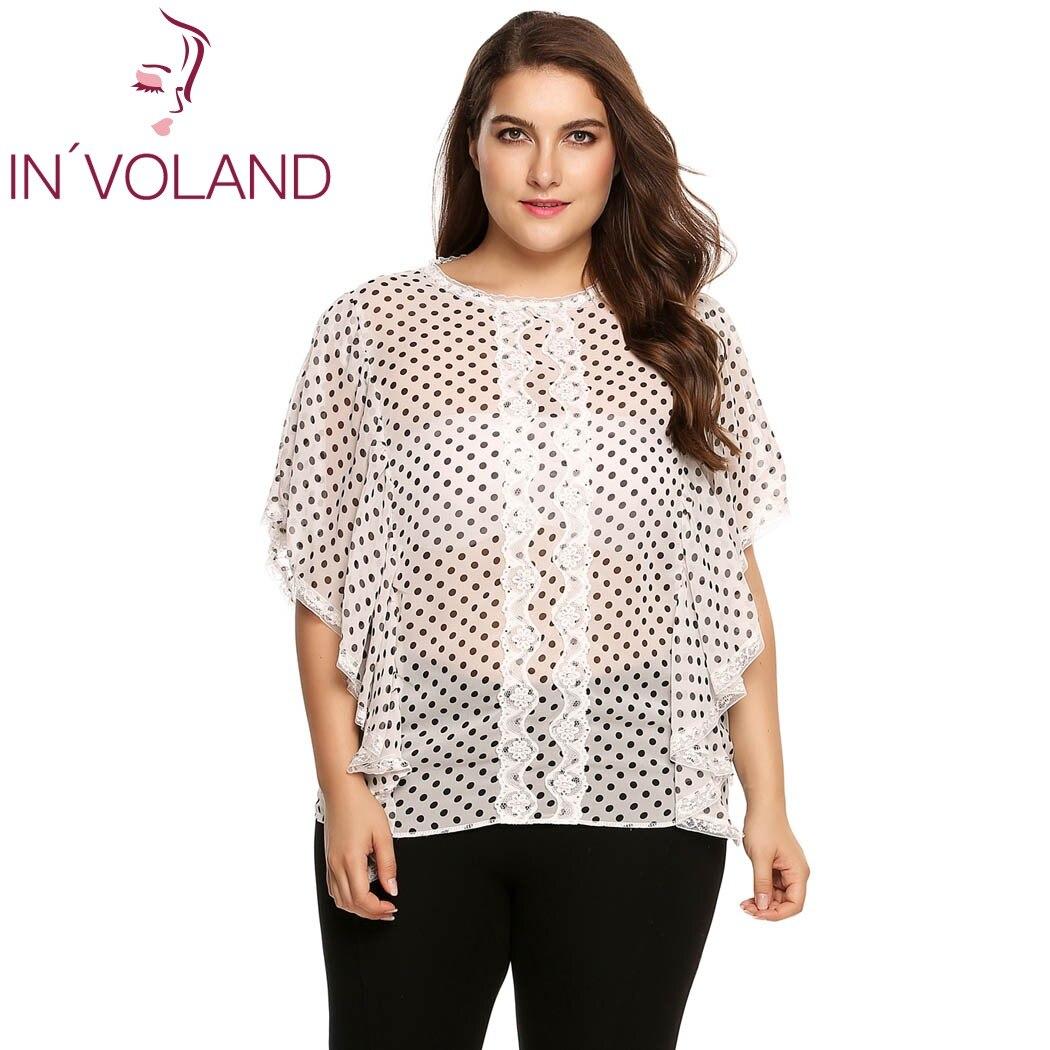INVOLAND, blusa de mujer, moda de verano, de talla grande, holgada, de manga corta, con encaje, Polka Dot Chiffon Blause, talla grande 4XL