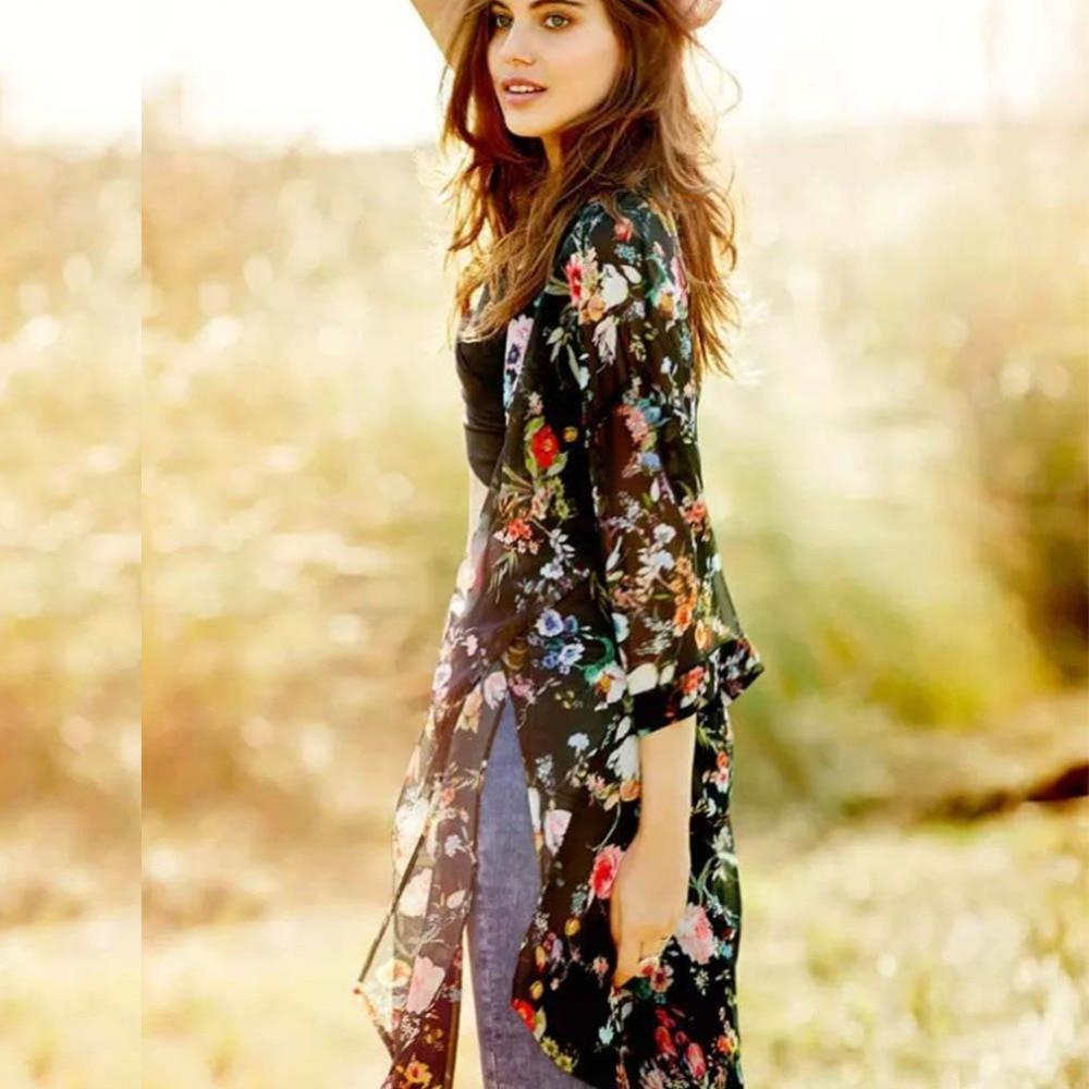 Sommer Sunproof Strickjacke Mode Frauen Chiffon Bikini Cover Up Kimono Strickjacke Mantel Bade frauen blusen