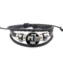 EJ glaçure Rock bande Logo offre spéciale verre Cabochon noir Bracelet en cuir Bracelet pour les femmes