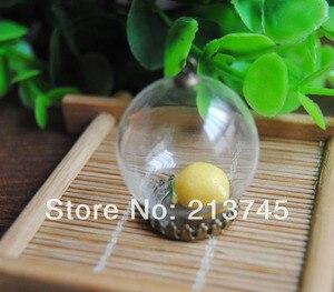 Freeshipping perfect 30*20mm Glass bubble globe & bronze crown setting &6mm cap&70cm necklace Set glass bottle vials pendant DIY