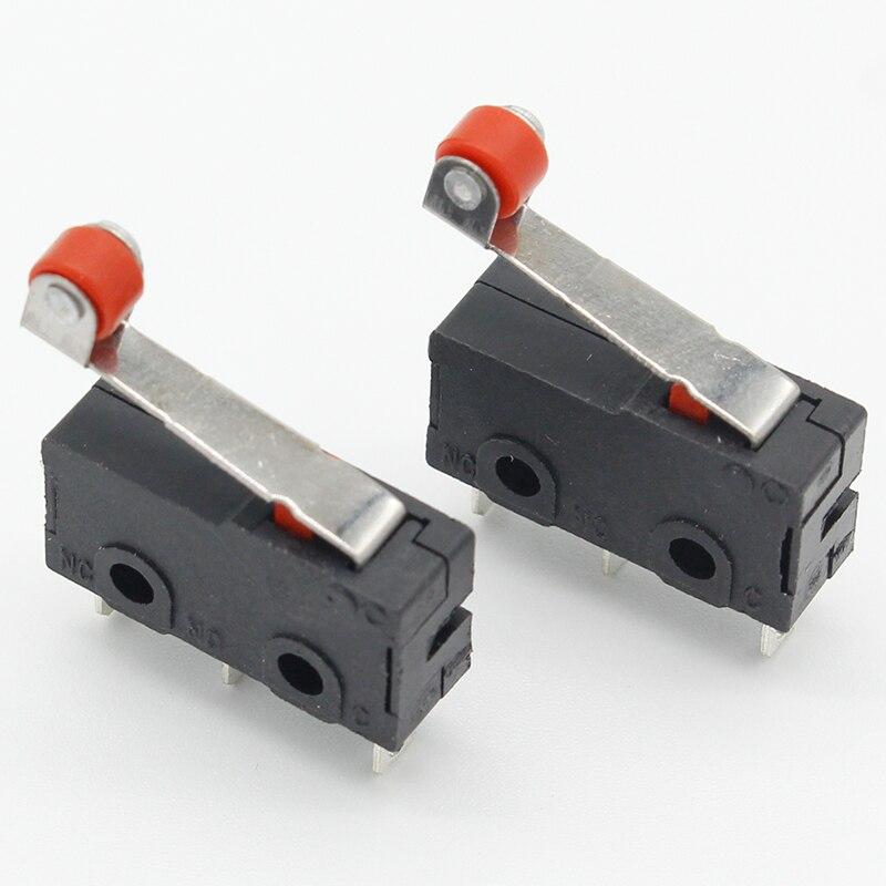 10 шт., мини-микроконцевой переключатель, роликовый рычаг, SPDT, кнопка действия