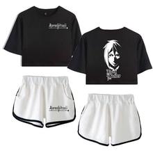 Hot Black Butler Vrouwen Zweet Pak Set 3D Digitale Gedrukt Vrouwen Dropshipping Open-Hals Korte Mouwen T-shirt Shorts pak