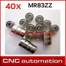 40 pcs MR83 MR83Z مصغرة محامل كرة صغيرة تحمل 3X8X3mm 3*8*3 MR83ZZ شعاعي رمح