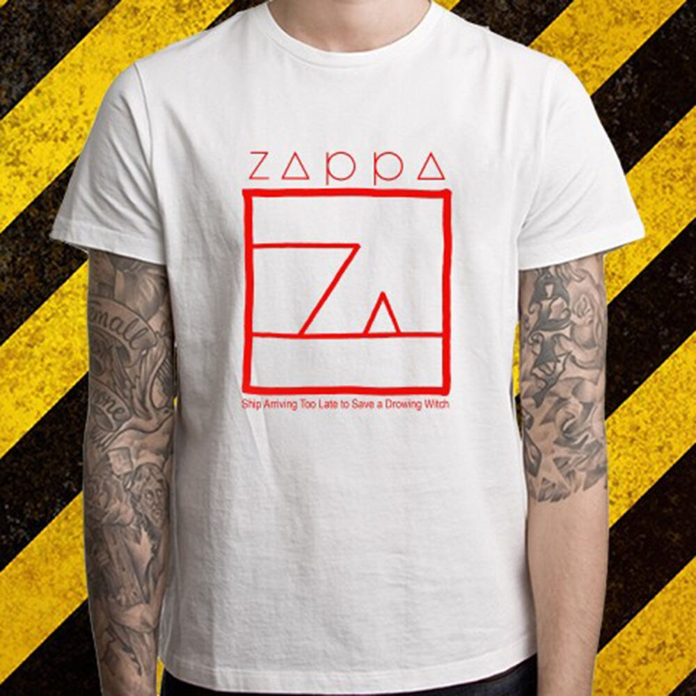 New Frank Zappa Album Logo Music Legend Men's White T-Shirt Size S To 2XL Men Short Sleeves T Shirt Brand Style Short Sleeve