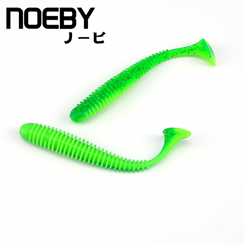 Мягкая приманка NOEBY, 8 шт./лот, 45 мм/0,6 г, Т-образная рыболовная приманка, мягкий свимбейт в форме червя, весло, хвостик, воблер, мягкие приманки ...