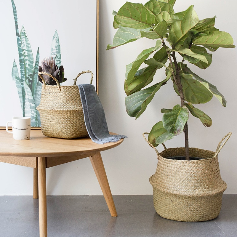 Корзина ручной работы, корзина из ротанга для хранения живота, плетеная корзина для хранения, садовый цветочный горшок, корзина для белья