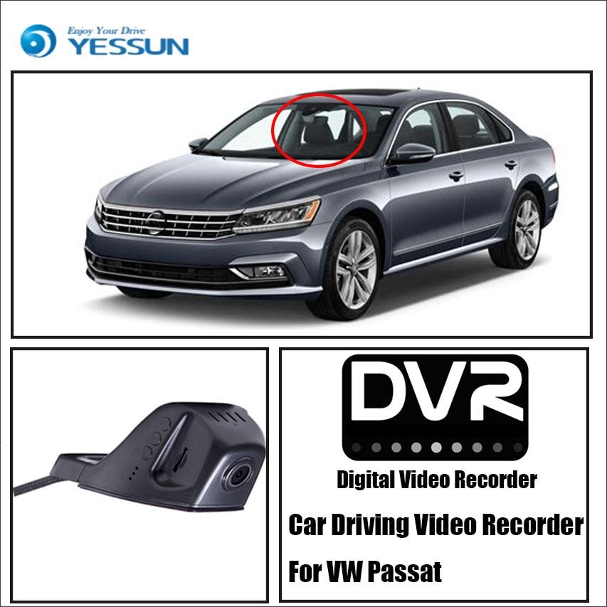 YESSUN, para iPhone, Android, función de Control de aplicaciones, cámara frontal para salpicadero de coche, cámara DVR para conducir, grabadora de vídeo para Volkswagen Passat