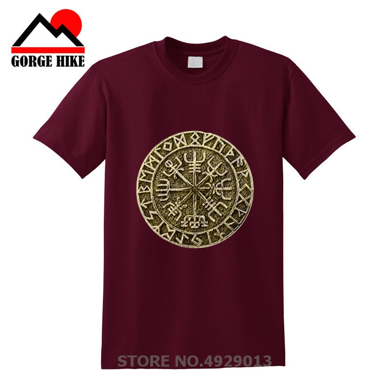 Totem camiseta Vegvisir colgante Futhark runas navegante vikingo Valhalla Odin hombres Camisetas cuello redondo de manga corta loco adulto camiseta diseños
