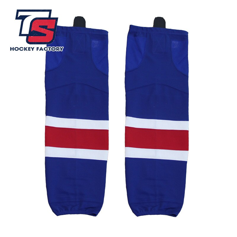 EALER envío gratis 100% poliéster transpirable Rangers de Hockey sobre hielo deporte barato Shin guardias W021 para los fans