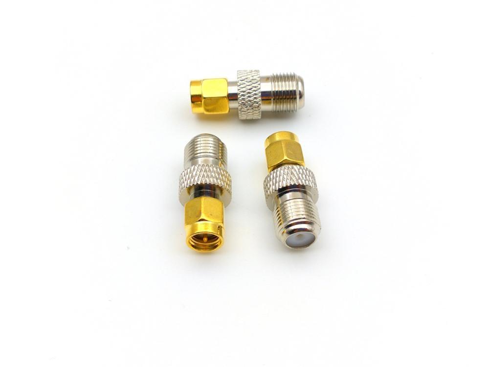 50 قطعة/100 قطعة F أنثى جاك إلى SMA ذكر التوصيل RF محوري موصل النحاس