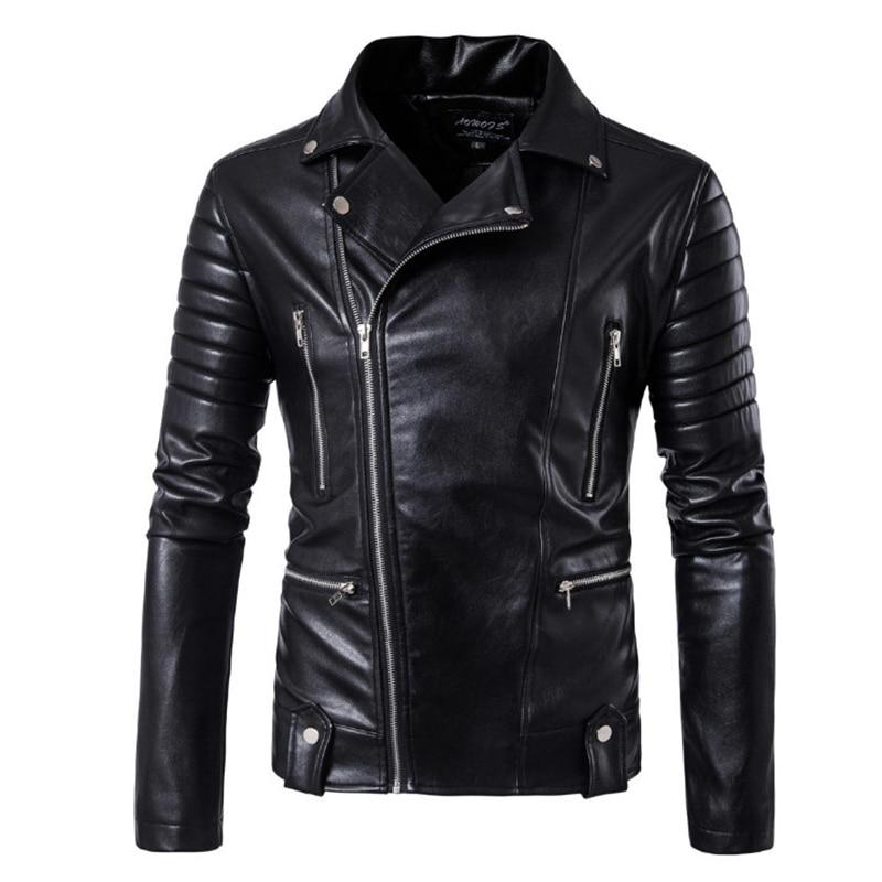Chaqueta de marca nueva, chaqueta de cuero para la moto de estilo Punk con diseño múltiple, abrigos de cuero con calavera a la moda para hombre, chaqueta Bomber para hombre 5XL