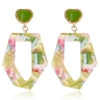 xiyanike 2019 simple big geometric acrylic drop earrings for women bohemia acetic acid boho fashion jewelry pendientes mujer
