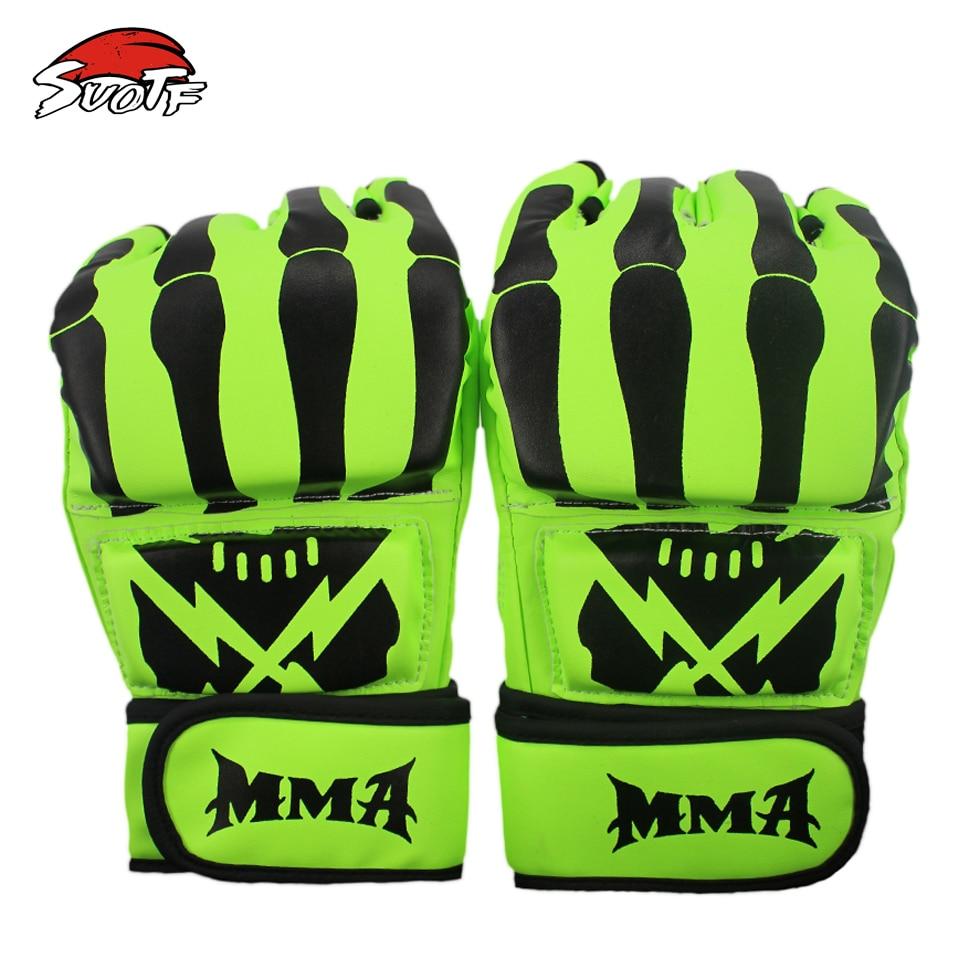Guantes SUOTF fluorescentes verdes de lucha contra Tigre Muay Thai MMA boxeo deportes cuero caja de lucha mma guantes sanda guantes de boxeo almohadillas