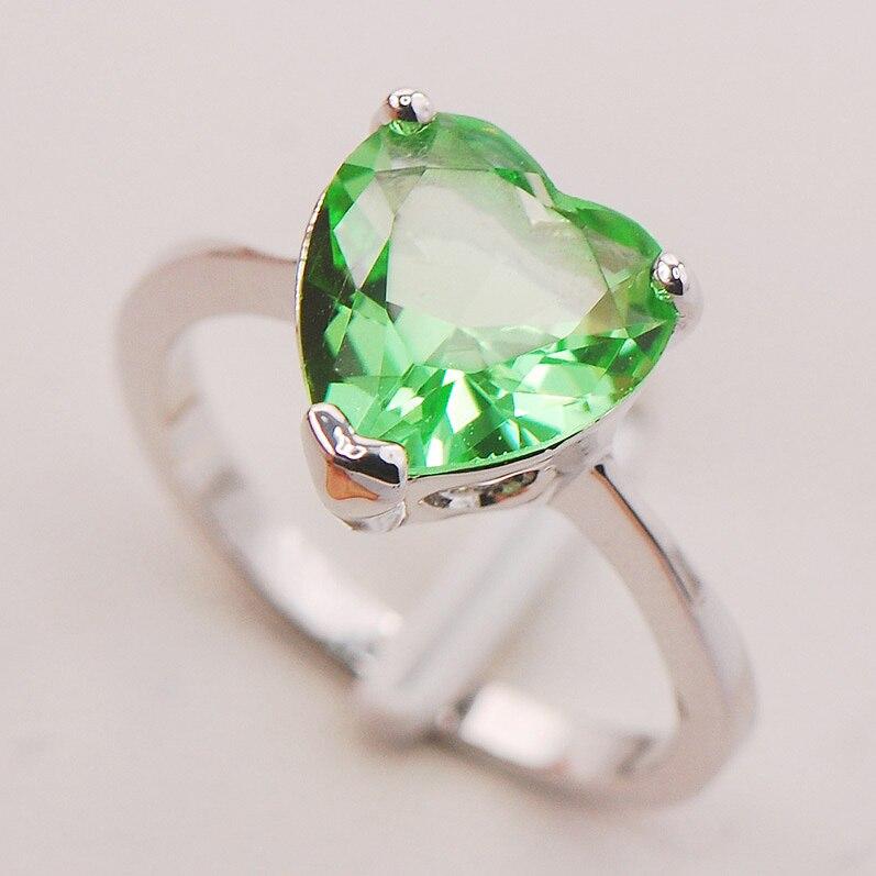 Peridot Frauen 925 Sterling Silber Ring F765 Größe 5 6 7 8 9