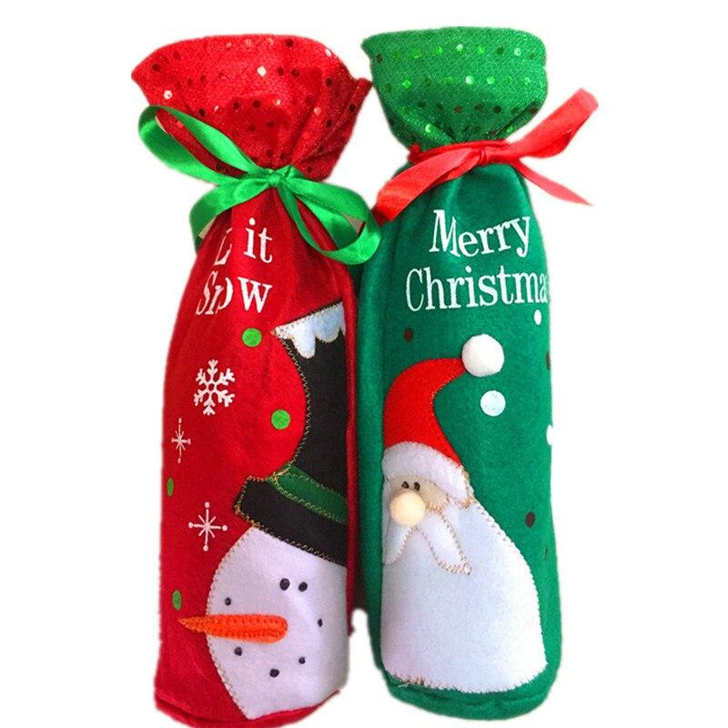 Tampas de Garrafa de Vinho Bolsa de Feliz Natal do Boneco de Neve de Santa Decoração de Mesa Tampa de Garrafa de Vinho Bolsas de Presente Atacado Wrap Party Decor