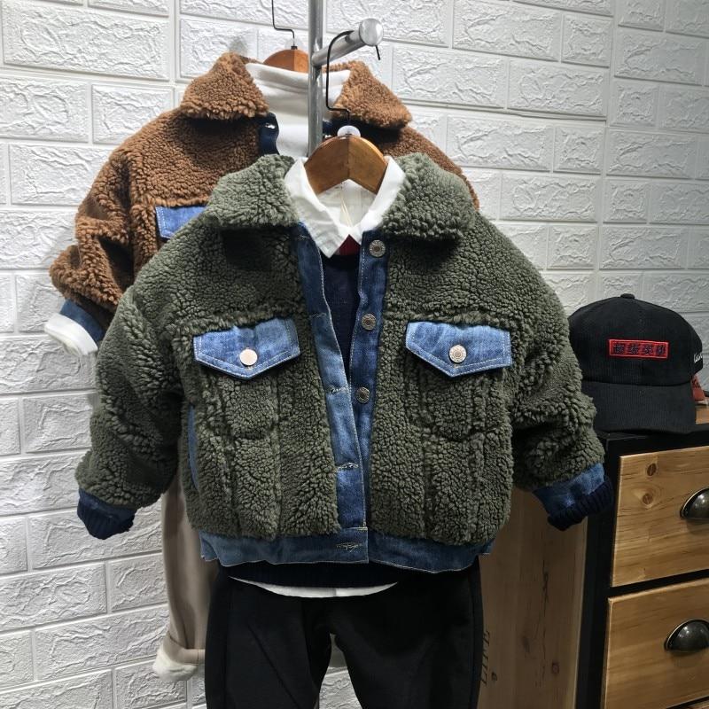 От 2 до 8 лет новинка 2018 года зимняя плотная теплая куртка из овечьей Джинсовой
