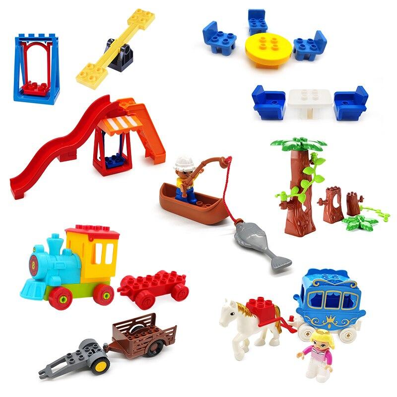 Tamanho grande bloco de construção balanço parque diversões trem figuras acessórios cena combinação brinquedos para crianças compatível com duplo