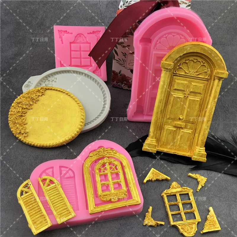 AliExpress - 3D Door Window Silicone Mold Frame Cake Border Fondant Cake Decorating Cookie Baking Christmas Candy Chocolate Gumpaste Moulds