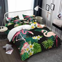 Tropical Green Plant Leaves Bedding Set Jungle Flamingo Floral Printed Duvet Cover Set Twin Full Queen King Bedding 3Pcs D45