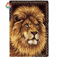 Kit de crochets crochetés pour animaux   Ensemble de tapis, Kits de tapis pour broderie artisanale, ensemble de tapis lions aiguilles à tricoter, grande taille 110 x 78cm