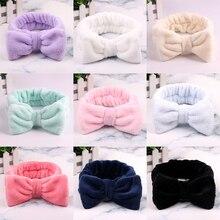 New Cotton Women Wash Face Hairband Girls Headband Elastic Headwear Coral velvet bow Hair Accessories