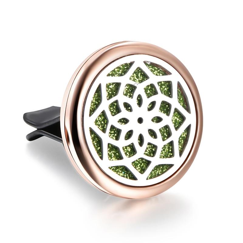 Relicario difusor de aroma de coche con diseño de caleidoscopio de acero inoxidable dorado