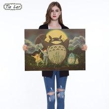 1PC Vintage Cartoon Anime Totoro Poster Cafe Kid Home Decor Retro Kraftpapier Muursticker 51.5X36cm