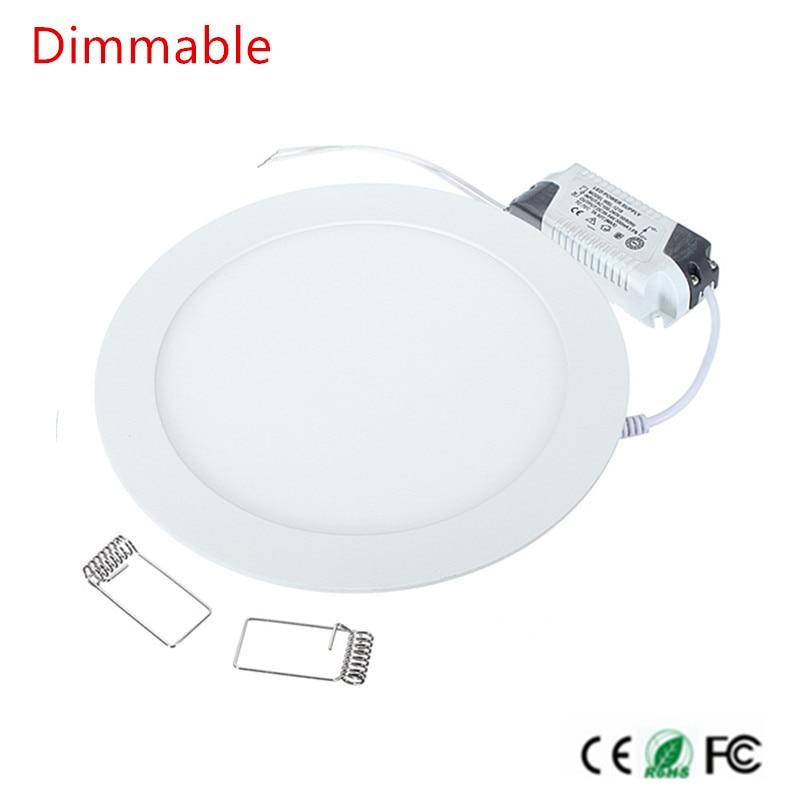 40 uds/6 W redondo Ultra delgado SMD 2835 controlador de potencia Panel de techo luces blanco frío